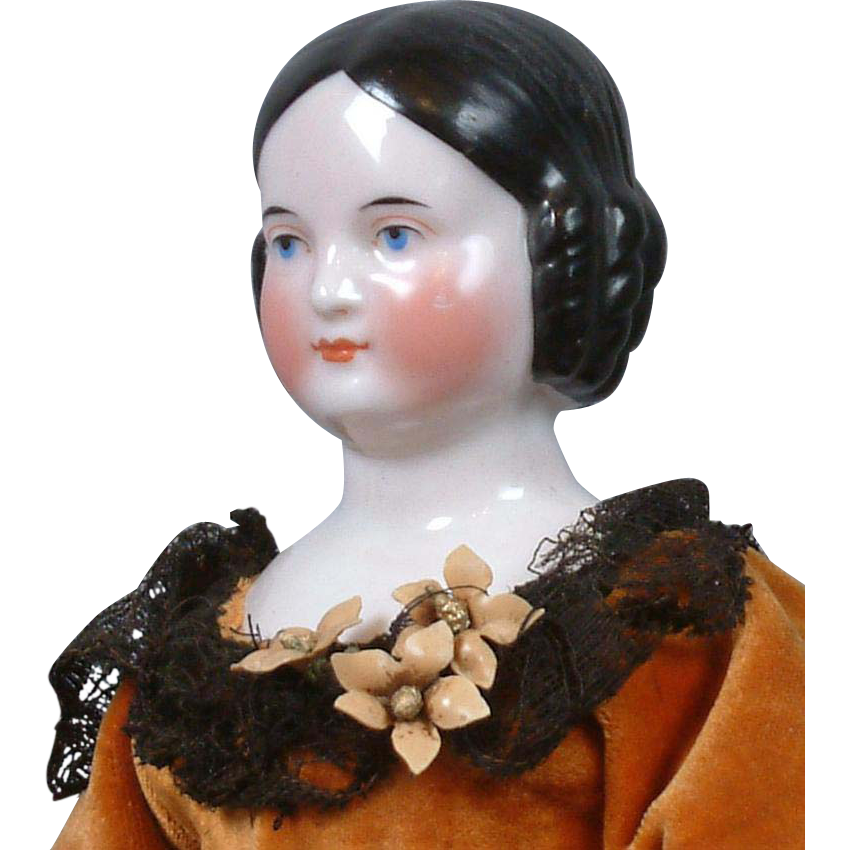 """Superb Early Kestner Covered Wagon China Lady with Barrel Curls + 1848 Shoes 15""""!"""