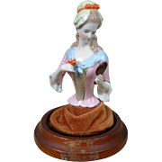 Exquisite Antique German China Half Doll with Wooden Base & Glass Dome