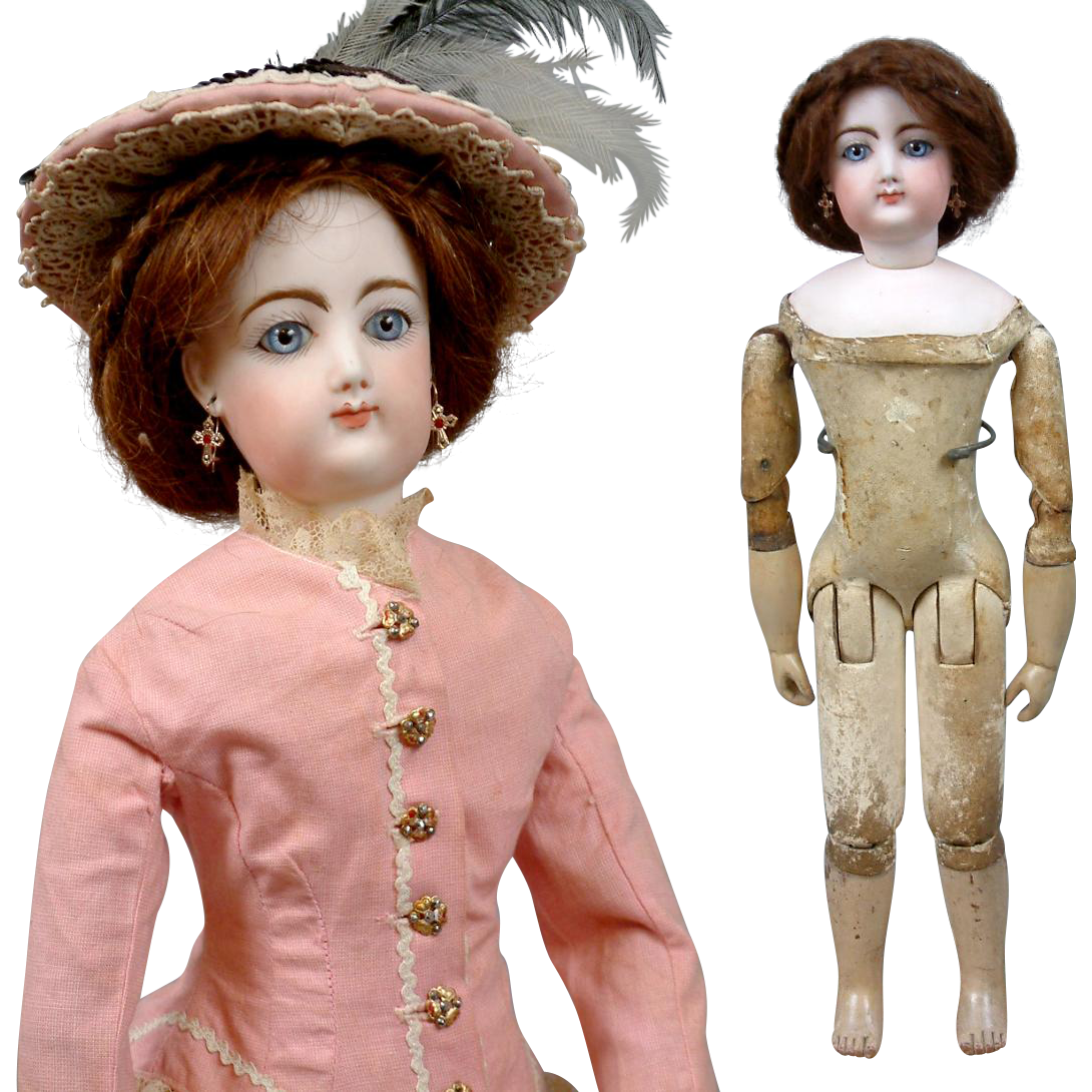 """Stunning 18"""" Francois Gaultier for Jumeau Kid Over Wood Body Fashion Poupee In Antique Costume"""