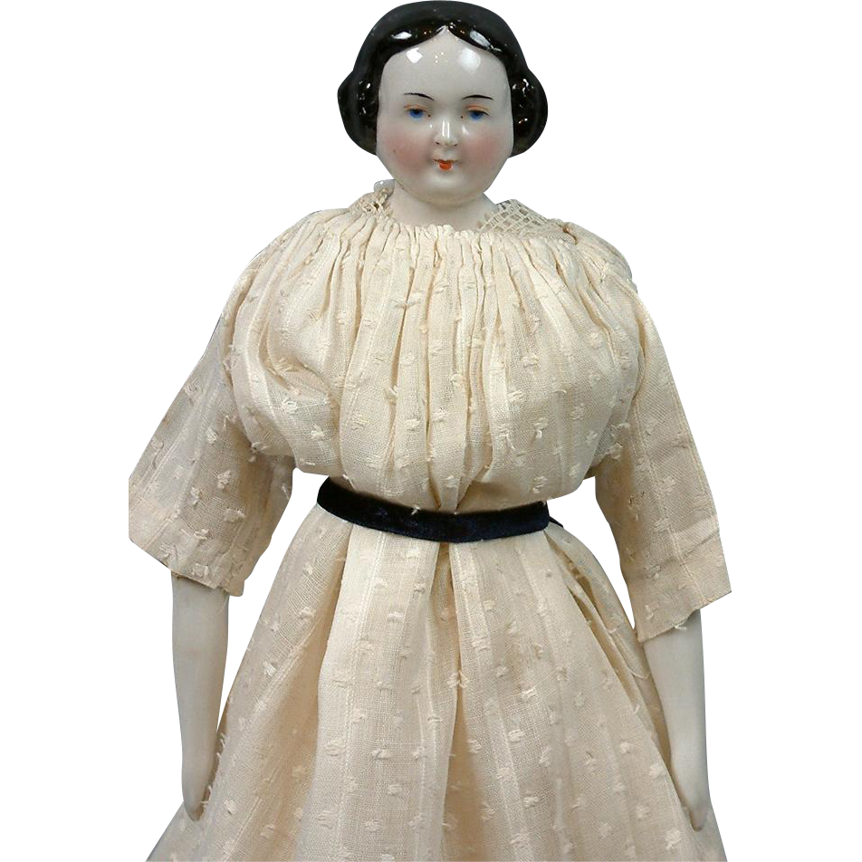 Circa 1860 Antique China Lady in Delightful Antique Dress 15.25""