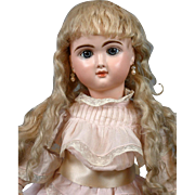 German Antique Long Tail Mohair Platinum Blond Wig Hand-Tied for German or French Dolls