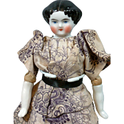 """Delicious Doll House Size China Lady in Antique Costume 7.5"""" for Cabinet Collection"""