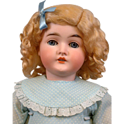 "Bright in Blue Queen Louise Armand Marseille 23.5"" Antique Bisque Doll"