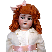 "28"" Adorable Rare Kammer & Reinhardt Flirty Child with Superb Antique Costume & Red Mohair Wig!"