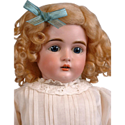 "20"" Kestner 167 Antique Bisque Doll with Blue Eyes and Fabulous Body in Antique Dress"