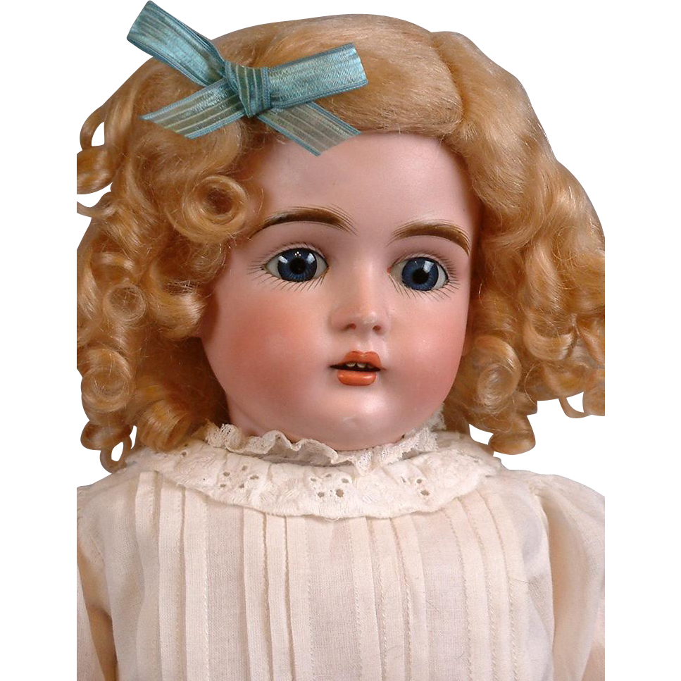 """20"""" Kestner 167 Antique Bisque Doll with Blue Eyes and Fabulous Body in Antique Dress"""