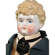 "Fabulous 18"" Blond China Antique Boy in Custom Tailcoat Costume"