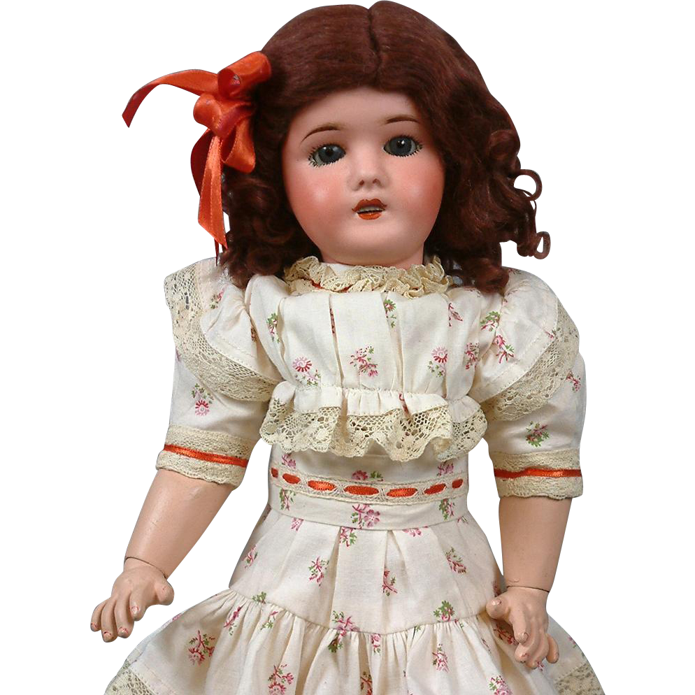 "Cute 16.5"" Lanternier Limoges French Antique Bisque Girl"