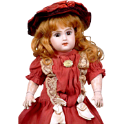 """Adorable Size 3 Tete Jumeau Bebe Closed Mouth 12.5"""" in Antique Silk Costume!"""