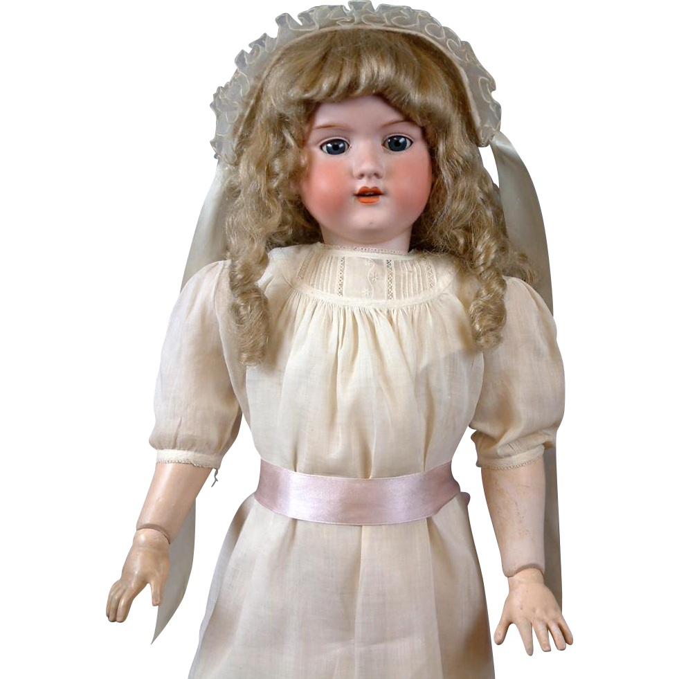 "~Thank You GB~HUGE 32"" Armand Marseille 390n. Antique Doll in Crisp Whites"
