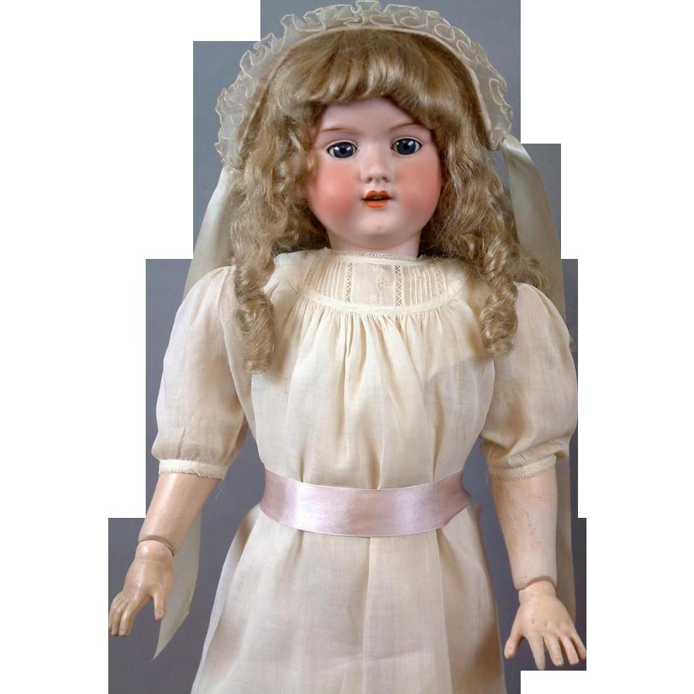 "HUGE 32"" Armand Marseille 390n. Antique Doll in Crisp Whites"