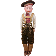 """Outstanding Gebruder Heubach Character 18.5"""" Bisque Boy in German Fashion Costume!"""