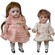 Fabulous Pair of All-Bisque Antique Petite Dolls