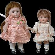 Fabulous Pair of All-Bisque Antique Petite Dolls