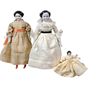 Lot of 3 Sweet China Ladies Antique Dolls for China Lovers