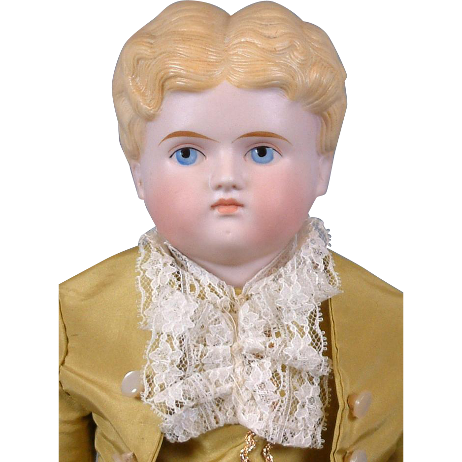 "Dapper Antique Tinted Bisque Boy 19"" in Gentleman's Costume"