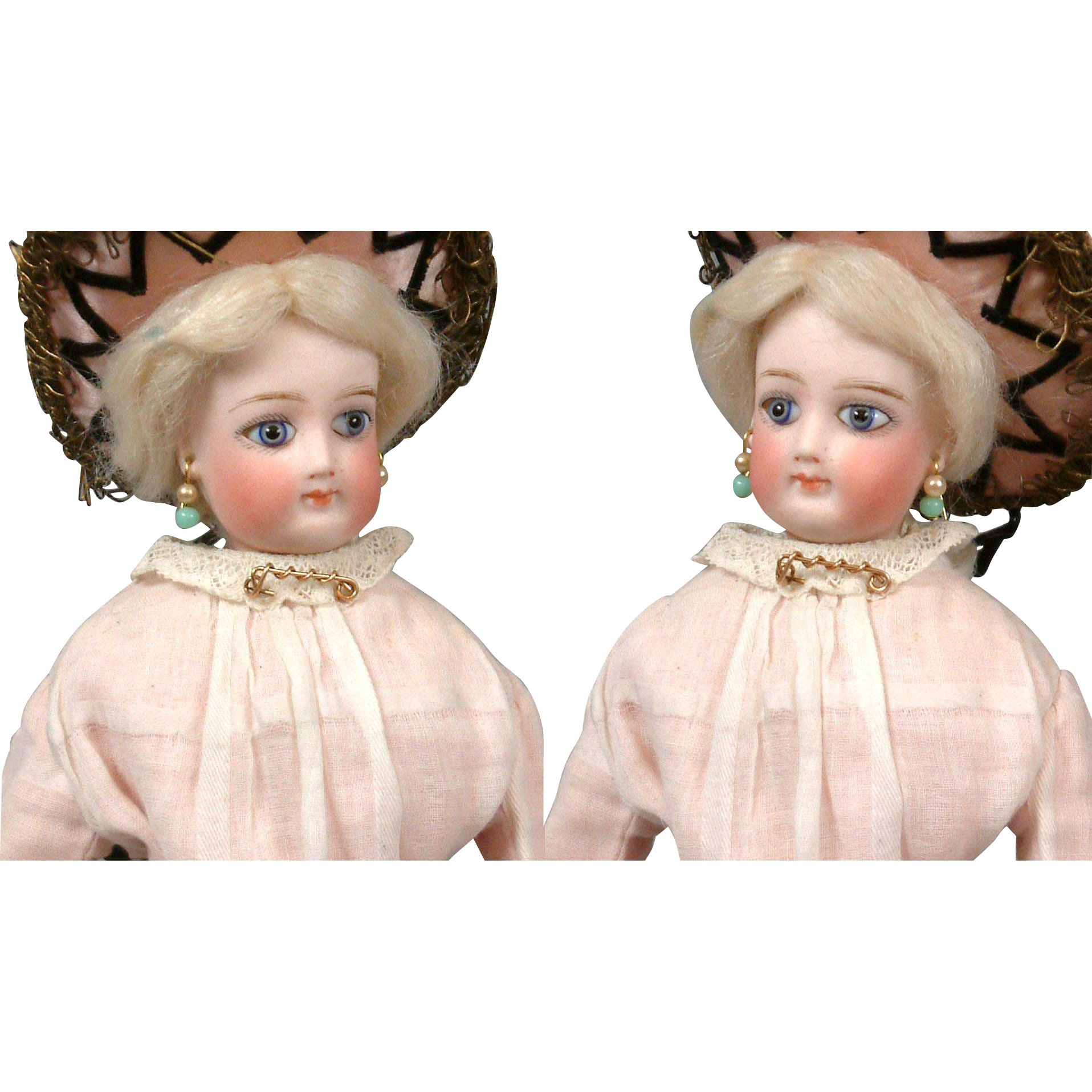 "~Thank You GB~12.5"" Petite Fashion Poupee With Large Tri-Color Eyes and Lovely Antique Ensemble"