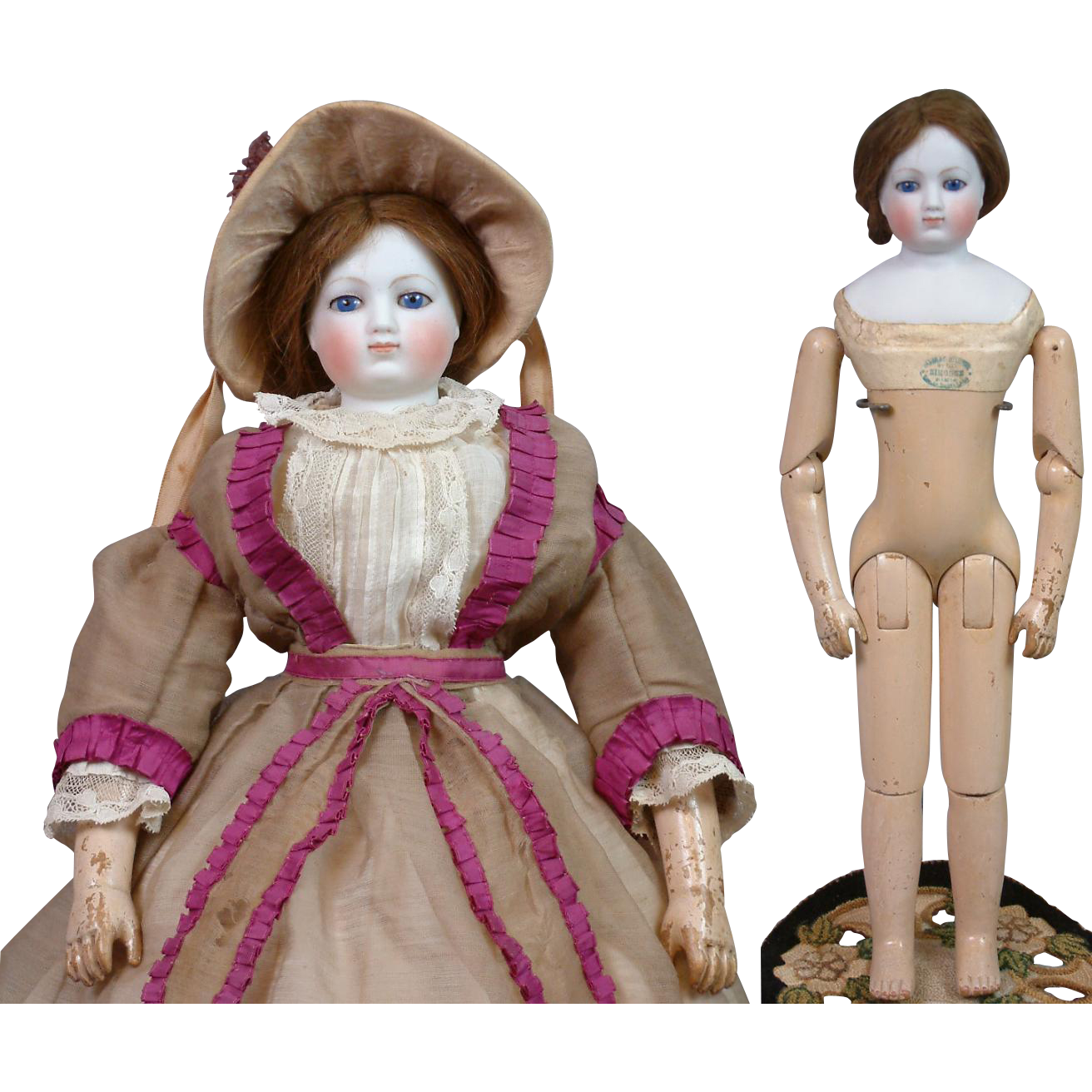 "Extremely Rare 17.5"" Gaudinot and Popineau c. 1865 On Wood Body with Simonne Label in Period Original Enfantine Gown!"