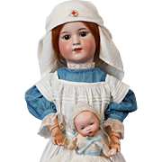 """23""""  Wonderful Antique Simon & Halbig 550 Doll in Antique Nurse Costume of the WW1 Era (Baby not included)"""