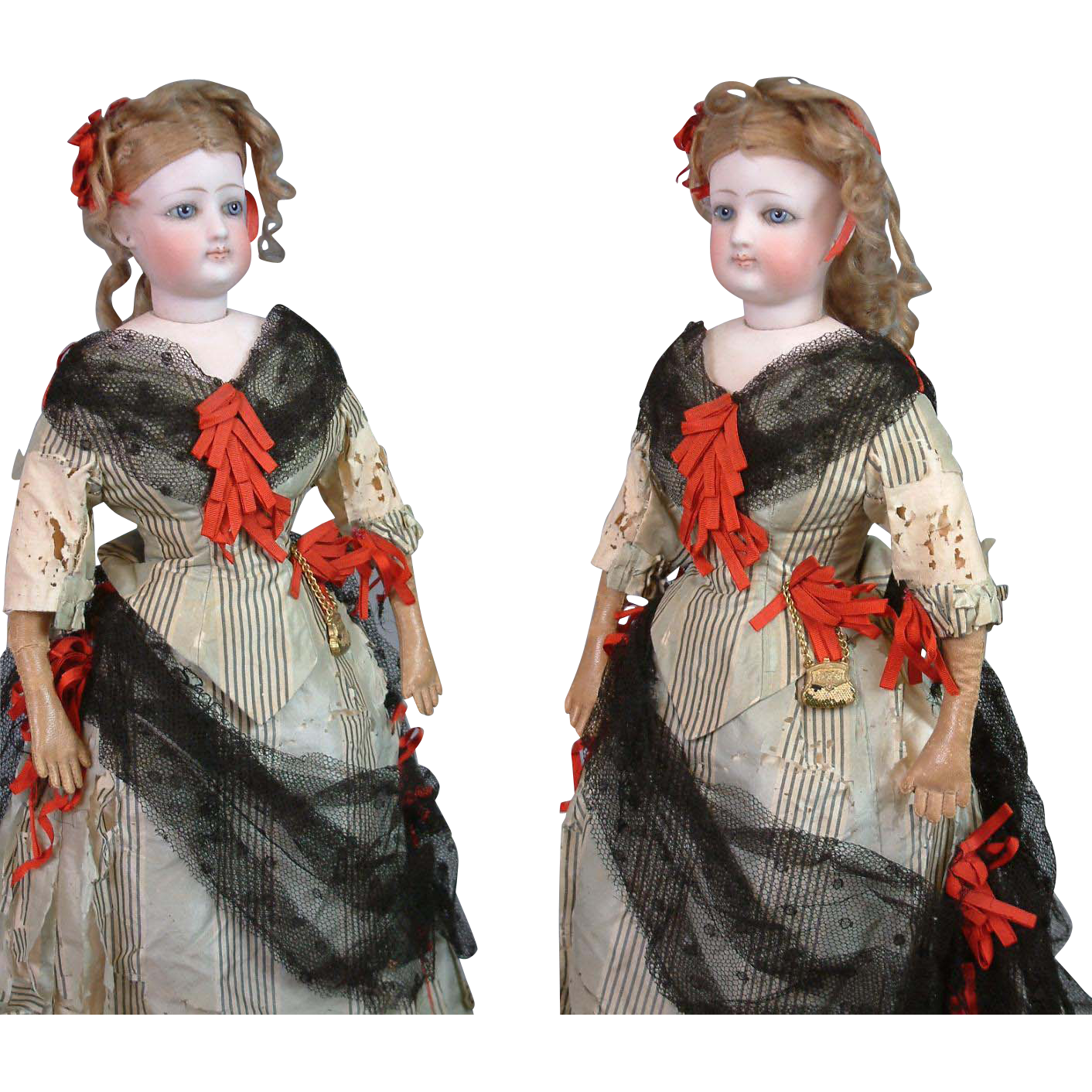 "Superb All Original 17"" Fashion Poupee In Silk Costume With Cloth Body"