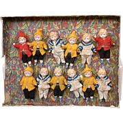 Outstanding 12 Hertwig All-Bisques Antique Dolls in Original Display -- Featured in Antique Doll Collector Magazine!