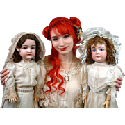 "Pair of Wonderful All Original 30"" Kestner Child Dolls in Crispy Whites"