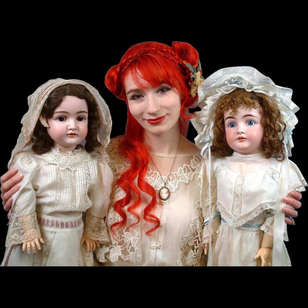 """Pair of Wonderful All Original 30"""" Kestner Child Dolls in Crispy Whites"""