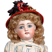 "14"" Early All Antique Kestner Child with  Square-Cut Teeth in Antique Dress and Original Wig circa 1885"