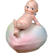 Absolutely-Darling RARE Kewpie on Heart-Shaped Trinket Box ALL BISQUE!
