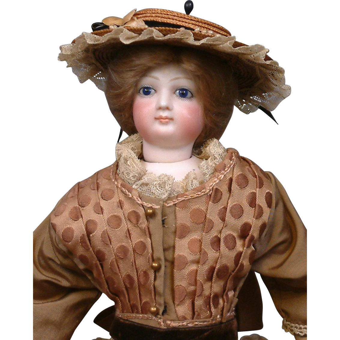 "~Fresh From Paris~ Early 16.5"" Fashion Doll Poupee by Jumeau with Cobalt Eyes in Exquisite Gown"