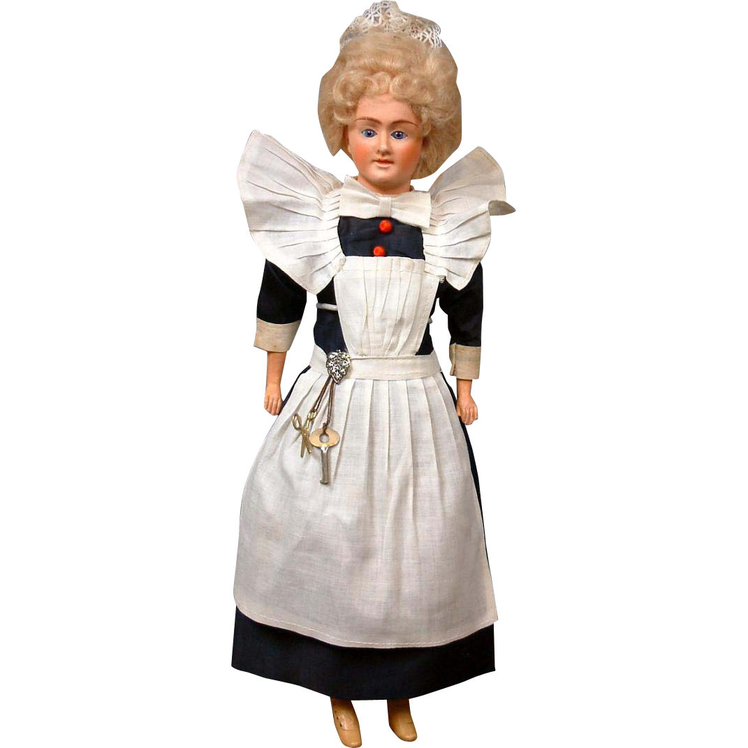 "16.5"" Beautiful Papier Mache Cuno & Otto Dressel Lady Doll in Original Parlor Maid costume of the 1890s"