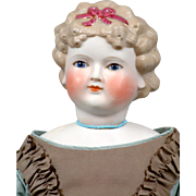 """Superb Early 21"""" Parian Lady with Cobalt Glass Eyes & Swivel Neck In Silk Costume"""