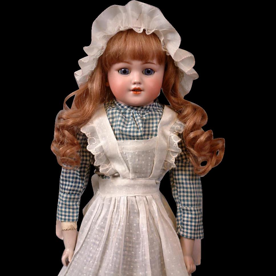 """Gorgeous 21"""" Santa  Simon & Halbig 1250 Bisque Antique Doll in Maid Costume"""