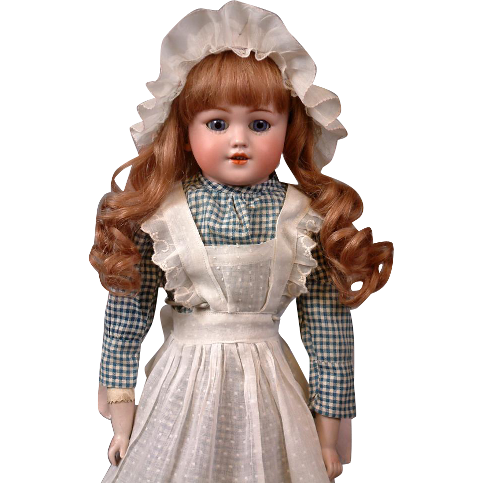 "Gorgeous 21"" Santa  Simon & Halbig 1250 Bisque Antique Doll in Maid Costume"