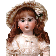 """22.5"""" French Antique 1907 Jumeau Bebe in Sweet Silk Frock with Frilly Bonnet"""