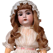 "22"" Lovely Kestner 167 in Sweet Original Crispy White Dress, Big Brown Sleep Eyes"