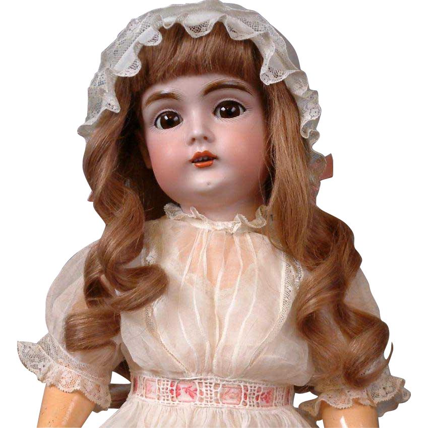 "22"" Lovely Kestner 167 in Sweet Original Crispy White Dress, Big Brown Sleep Eyes"