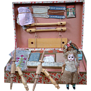 """Exquisite All-Original Dollhouse Tapisserie """"Tapestry"""" Set c.1890 w/French Bebe"""