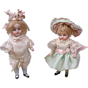 """Delightful Pair of Antique All-Bisque German Dollies 5"""" & 5.5"""" in Cute Costumes"""
