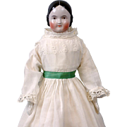 """~48 Hour 1/2 Price Sale!~ Lovely 21"""" Covered Wagon Brown Eyed China Lady In Antique Costume Antique Body- Beautiful!"""
