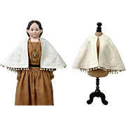 Gorgeous c.1860 Antique Cotton Lady Capelet with Original Poms