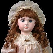 "26"" Early Tete Jumeau Bebe Size 12 In Original Silk Dress & Working Crier"