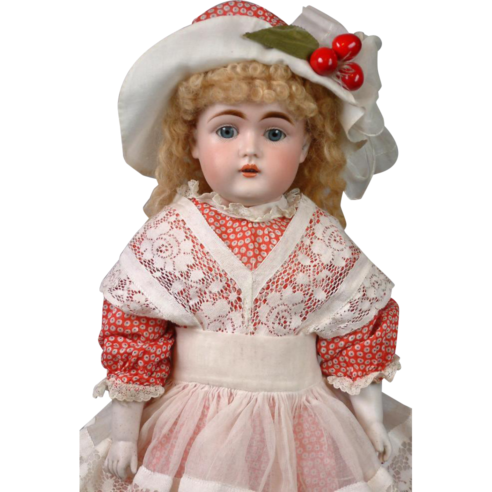 Gorgeous RARE Kestner Girl on Original Pink Body w/Rare Socks in Old Costume
