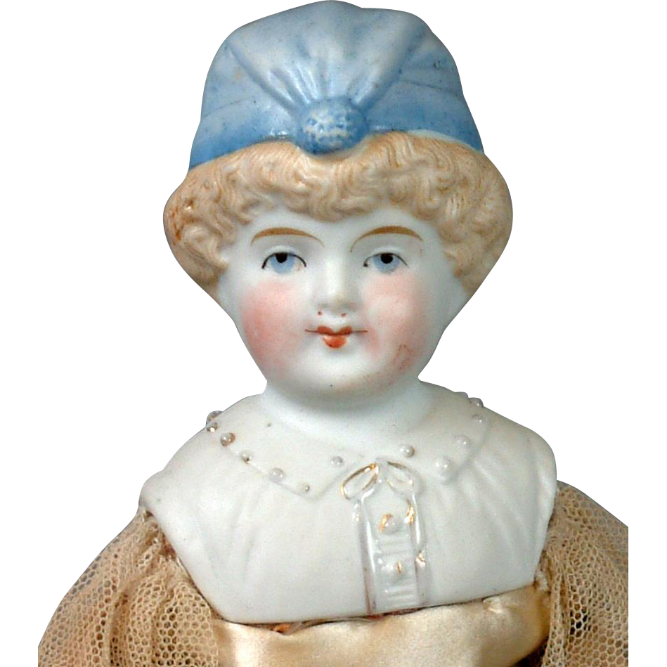 Excellent Hertwig Bonnet Parian w/ Rare Milliner's Wooden Legs Body in Original Costume