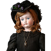 "30"" Kestner Swivel-Head Closed-Mouth Pouty Lady with 103 FACE  in All Original Victorian Mourning Dress (circa 1880)"