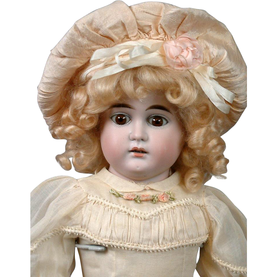 "Rare Louis & Wolf Pale Bisque Antique German Child Doll 23"" on Kidskin Body"