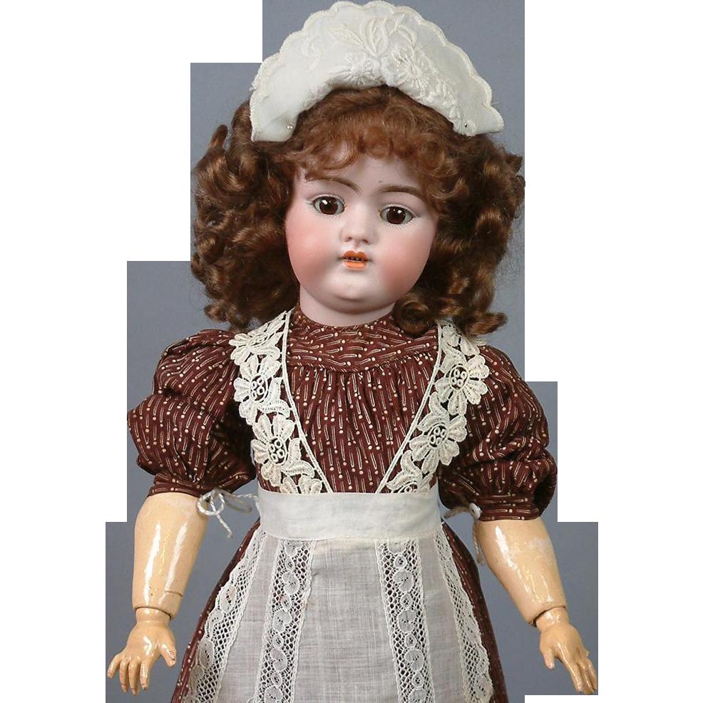 """*Delightful* 17"""" Simon & Halbig 1079 Antique Bisque Doll in Antique Costume"""