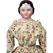 "Sweet 11.5"" Antique Covered Wagon China Lady in Antique Costume"