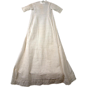 *OUTSTANDING* c.1885 Antique Long Baby Gown with 104 Rows of Tucking & Eyelet Lace!