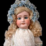 "Endearing 23"" Lanternier Limoges French Bebe Doll w/Big Blue Eyes"